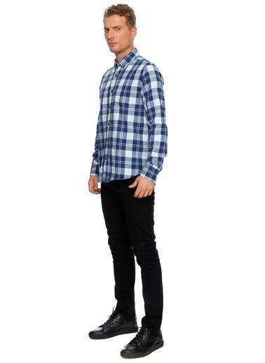 T-Box Ekoseli Uzun Kollu Gömlek Lacivert